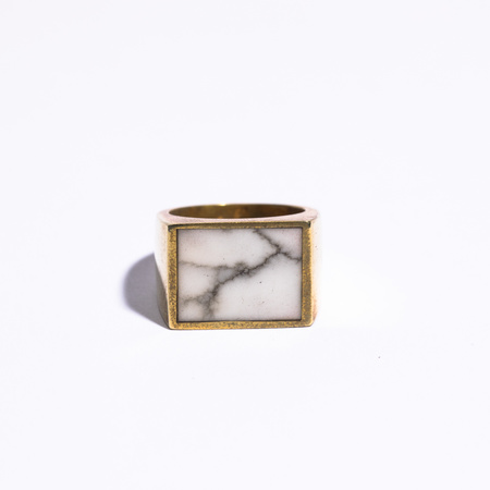 Legier Stone Signet Ring with White Turquoise - brass