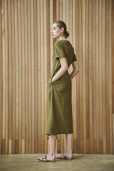Maison De Ines DRESS WITH SHIRRING DETAIL - khaki