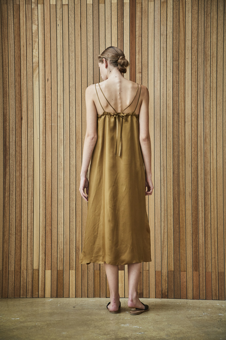 Maison De Ines FEM SLIP DRESS - khaki