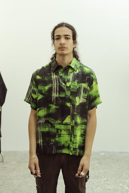 PHIPPS Verdelite Satin Camp Shirt - Green Tourmaline