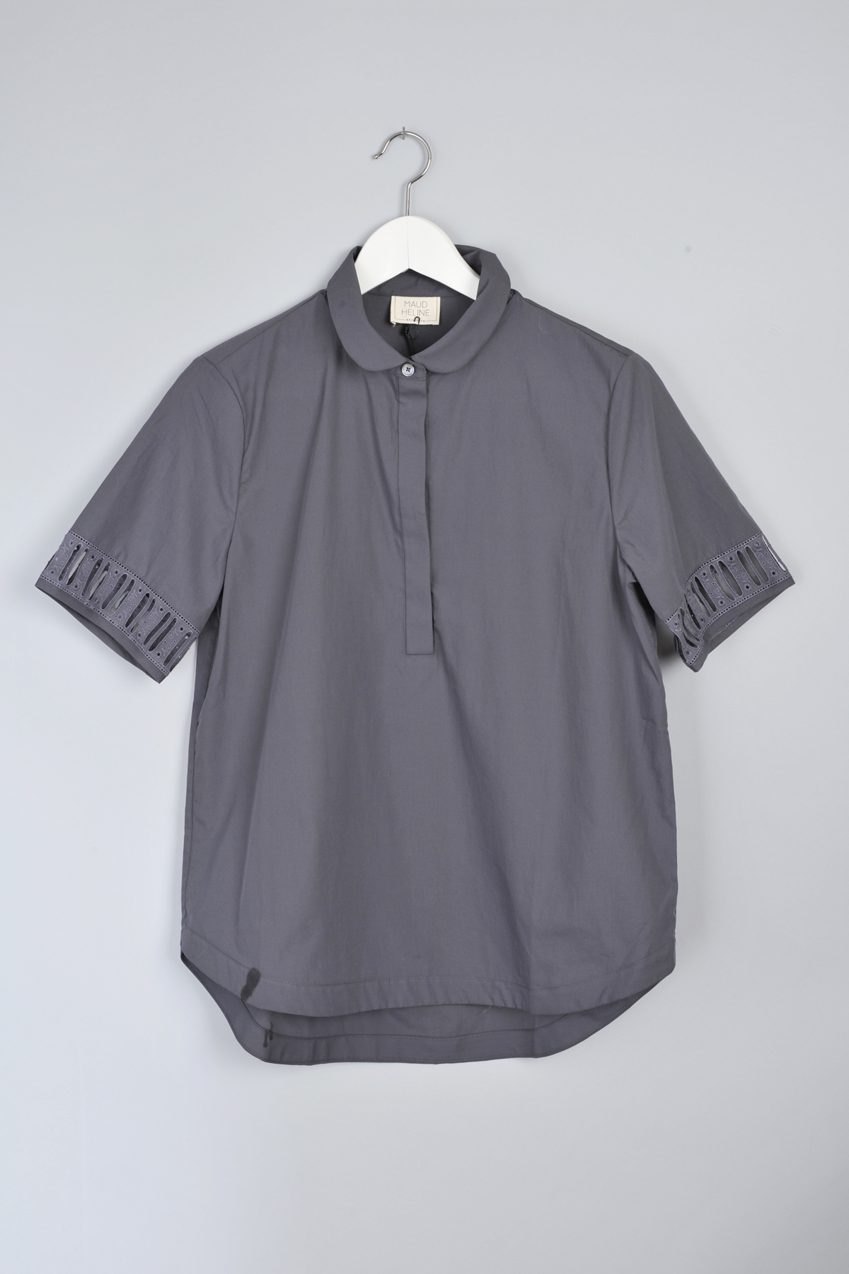 Charcoal Baroze Shirt With Peter Pan Collar By Maud Heline Garmentory