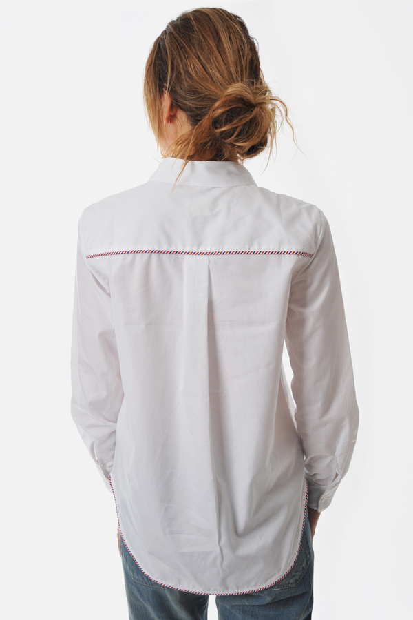 White Bojaj Shirt With Arelquin Sleeves by Maud Heline