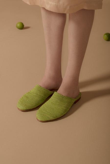 Folk Fortune Raffia Slides - Chartreuse