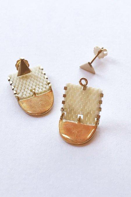 IL Design ILD Milk and Honey Moon Short Earrings in Bone - 10K Gold