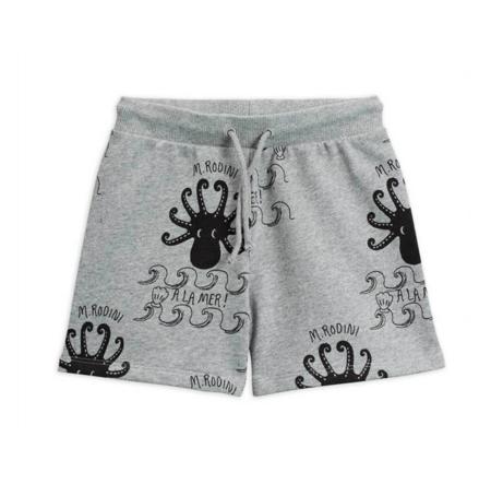 Kids Mini Rodini Octopus Shorts - Grey