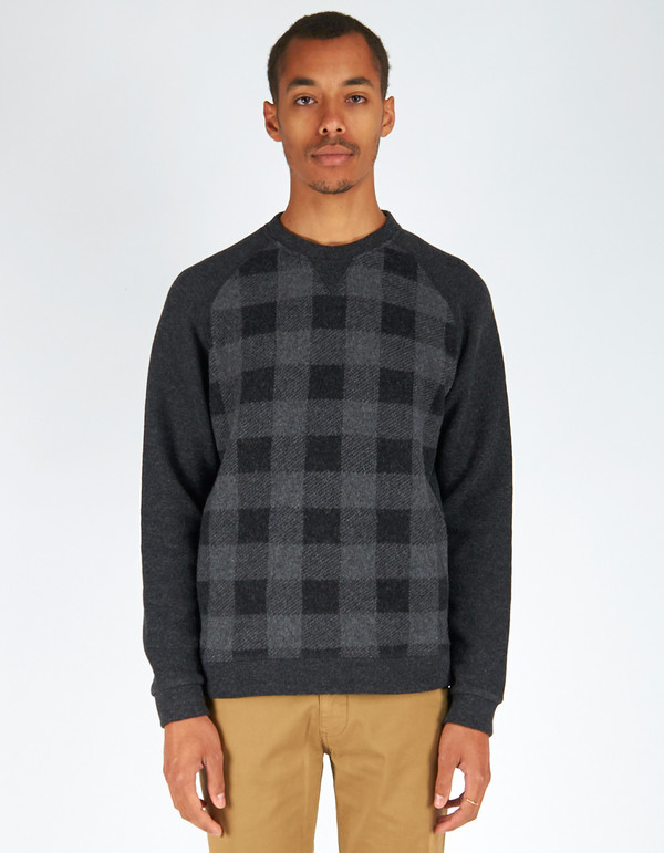 Men's Woolrich John Rich & Bros. Buffalo Check Crew Charcoal