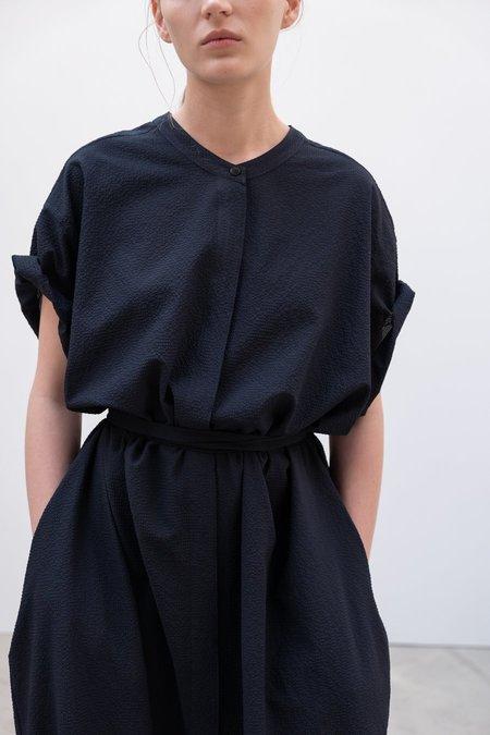 LVIR Belted Cloqué Dress - Navy