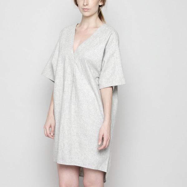 7115 by Szeki V-Neck Cocoon Wool Dress - Light Gray FW16