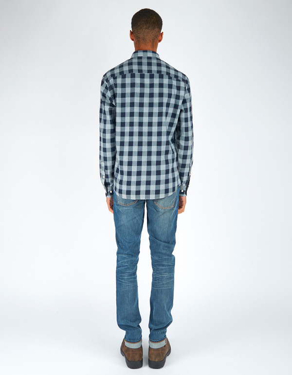 Woolrich John Rich & Bros. Indigo Check Shirt Navy Grey