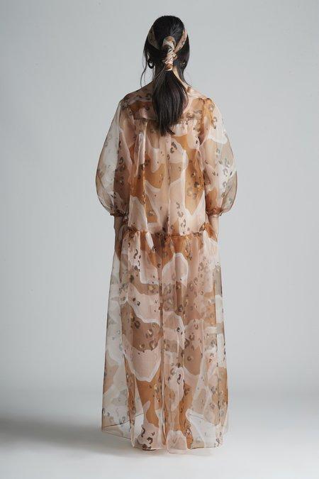 Christine Alcalay Long Sleeve Drop Waist Maxi Dress - Silk Organza