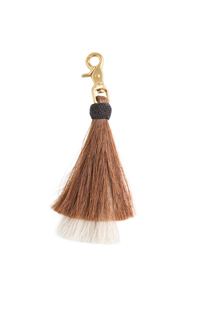 OLIVEVE brown/ blonde double bell horse hair tassel on brass clip