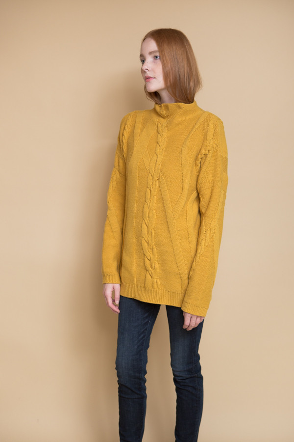 Reality Studio Cable Pullover - Mustard