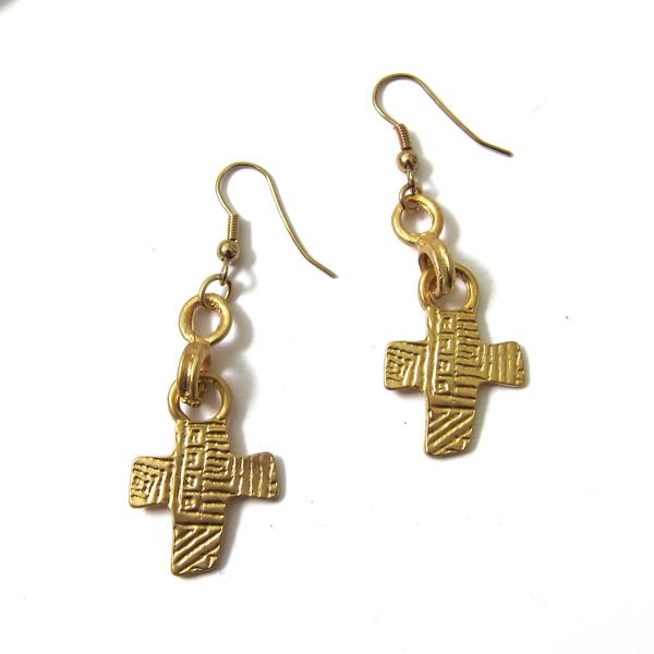 gold cross earrings