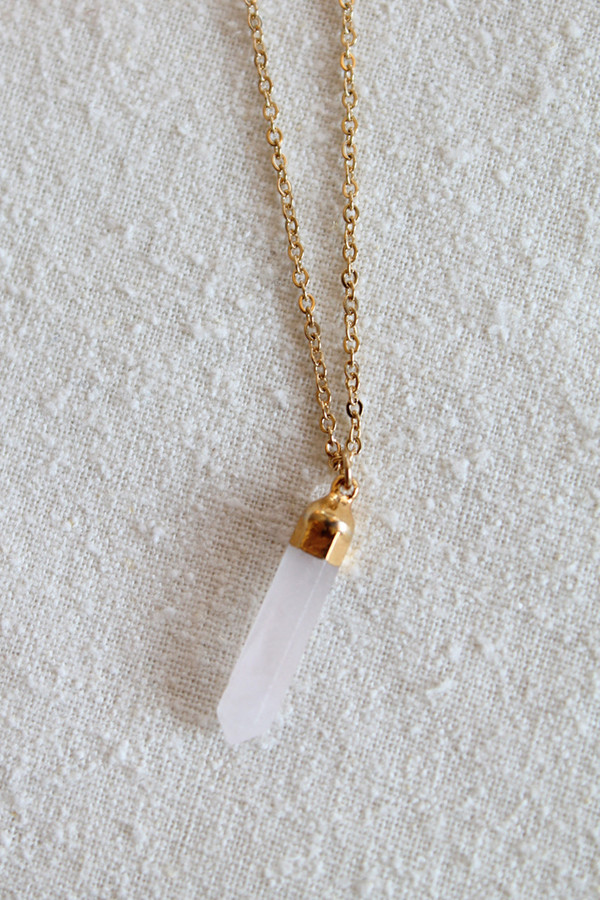 sheila b baby rose quartz necklace