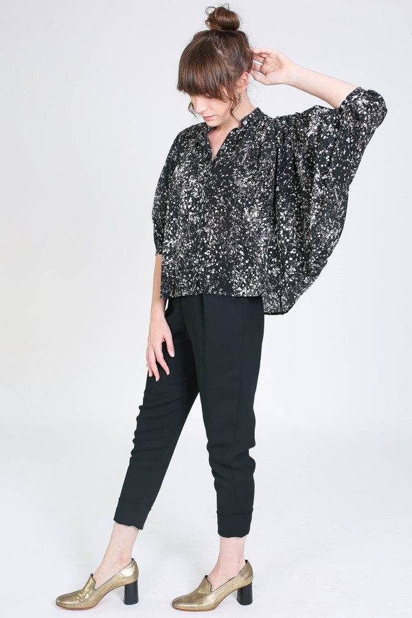 No.6 Store Circle blouse in black/white spray
