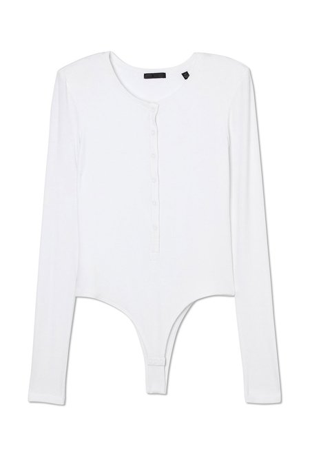 ATM Henley Ribbed Bodysuit - White