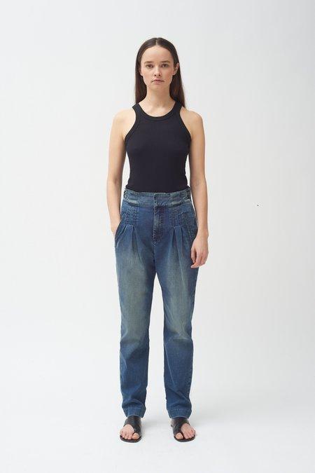 Colovos Box Pleat Jean - Medium Fade Wash