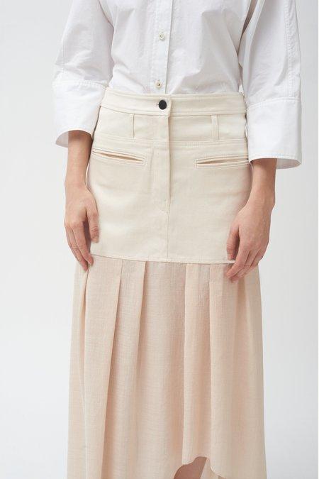 Colovos Denim Combo Asymmetric Skirt