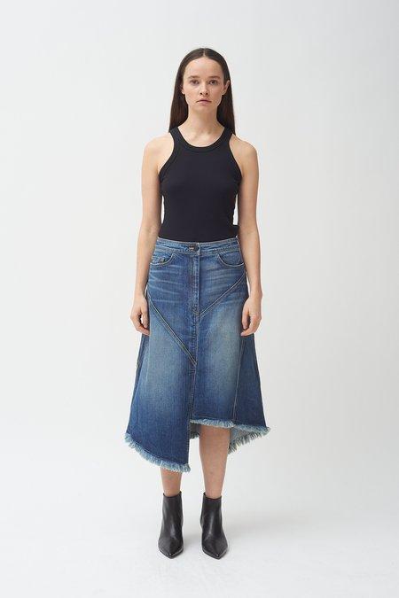 Colovos Seamed Denim Skirt - Medium Fade Wash