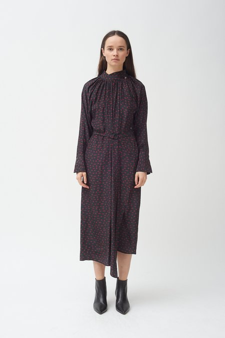 Colovos Silk Holding Hands Print Dress - Black/Red