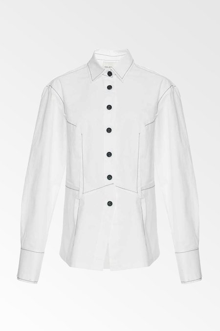 Colovos cotton poplin dart front shirt - White