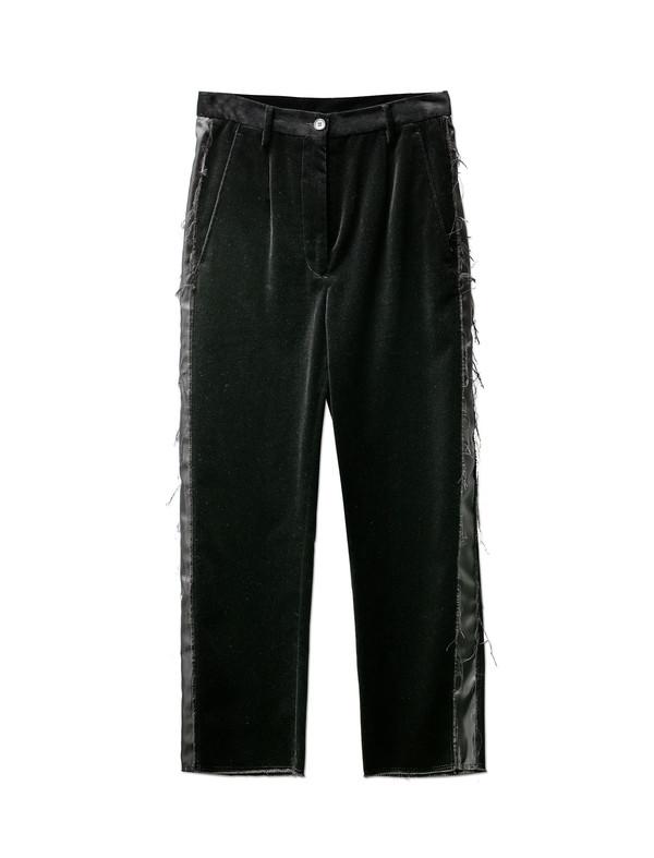 MM6 by Maison Margiela Womens Stonewashed Velvet Trousers Black