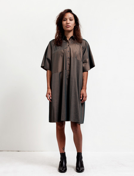 MM6 by Maison Margiela Womens Striped Shirtdress - Bronze