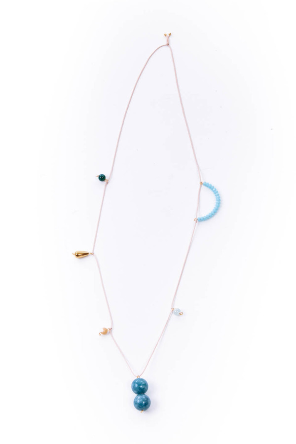 OkiikO Garden Necklace in Blue and Pink