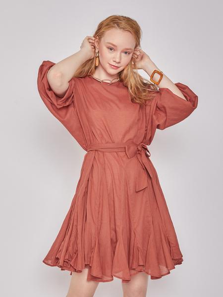 BLNC Flare Mini Cotton Dress - Rust