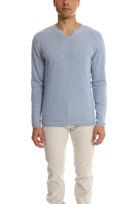 Blue&Cream Modified V Sweater - Breath Blue