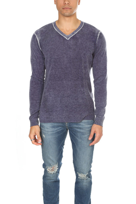 Blue&Cream Inked V Neck Pullover Sweater - Navy