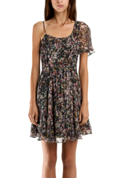 Charlotte Ronson Ruffle Dress - Evergreen/Multi