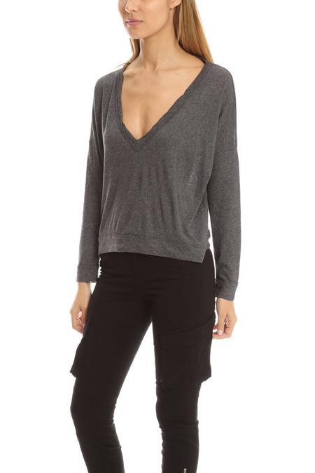 Crossley Oversized V Neck Sweater - Grey
