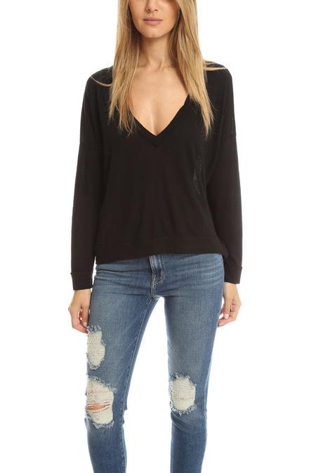 Crossley Oversized V Neck Sweater - Black