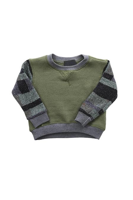 Kids Blue&Cream Brooklyn Baller Crewneck Sweater - Young olive