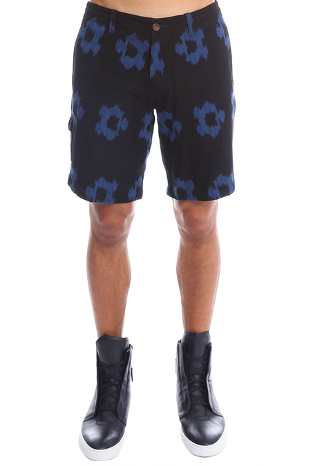 Burkman Bros Ikat Floral Short - Blue Ikat