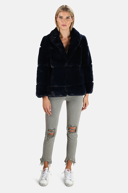 Apparis Sarah Faux Fur Coat - Navy Blue