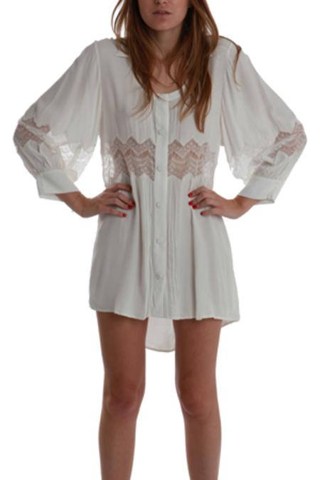 Shakuhachi Embroidered Lace Shirt Dress - White