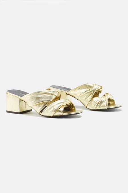 3.1 Phillip Lim Cube Twist Sandal Shoes - Gold