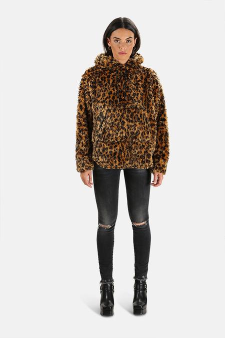 R13 Fuzzy Shirttail Hoodie Sweater - Leopard
