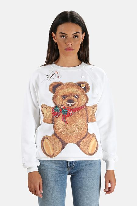 R13 Punk Teddy Bear Crewneck Sweatshirt Sweater - Dirty White