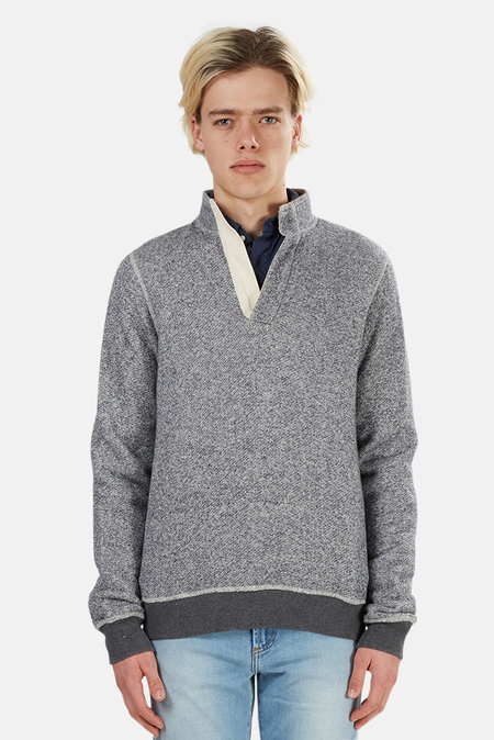 Blue&Cream Pop Collar Pullover Sweater - Navy/Charcoal