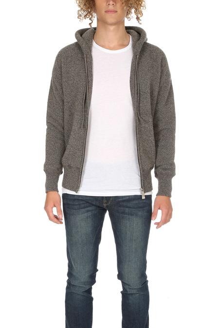 Side Slope Knitted Zip Hoody - Beige
