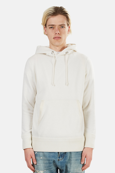 Side Slope Knitted Hoodie - Off White