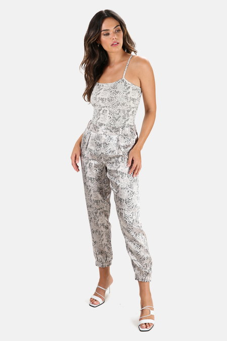 ATM Snake Print Cotton Bodysuit - Haze/Pavement Combo