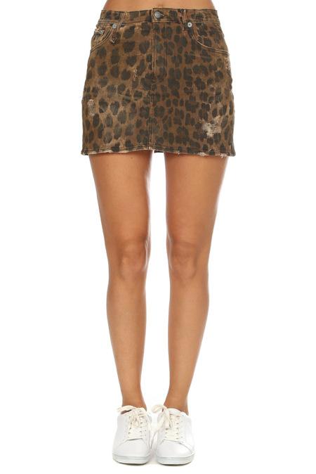 R13 High Rise Mini Skirt - Leopard Wash