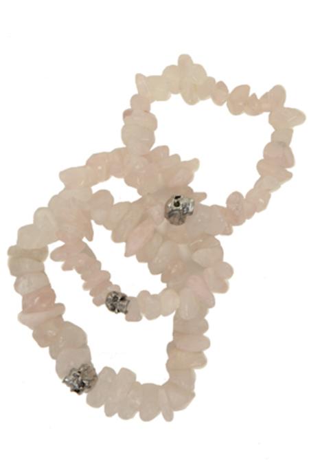 Duchess of Malfi Rose Quartz Skull Bracelet - Pink
