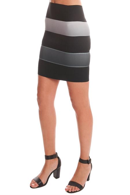 O.D. Maison 5 Band Skirt - Black/White Ombre