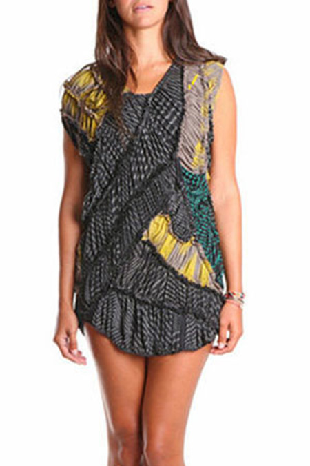 Salvor Rami Zebra Dress - Grey/Yellow/Black