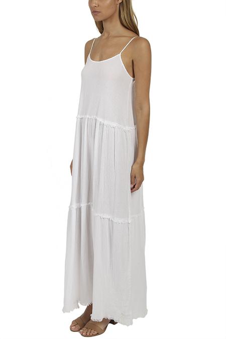 ATM Gauze Tiered Dress - White